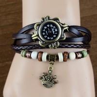 New 2014 Fashion Women Casual Leather Weave Wrap Wrist Liberty's Crown Watch Charm Bracelet Watches #005 19165