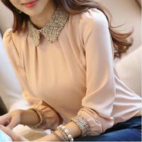 New Arrive Plus size women peter pan collar Top women blouse basic chiffon long-sleeve paillette casual Shirt Blusas
