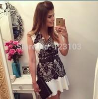 Hot-selling 2014 lace sleeveless chiffon one-piece dress V-neck short