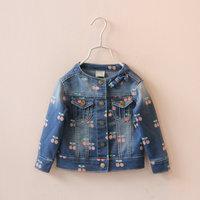2015 children's spring clothing sweet cherry female child denim outerwear baby girl's o-neck short jacket