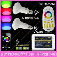 2x E27 Mi.Light 9W RGBW or RGBWW Mushroom Style Par30 LED Bulb AC85-265V+1x WiFi Hub+1x 2.4G Wireless RF 4-Zone Touch Remote