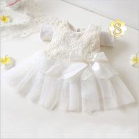 2015 new Girls Dress Princess dress infant wear Party  Big bow sleeveless girl wedding flower Baby girls dress pink white