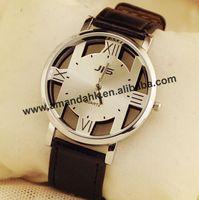 2015 New Leather Hollow Out Casual JIS Watch Fashion Couple Leather Watches Skeleton Quartz Dress Vintage Wristwatch