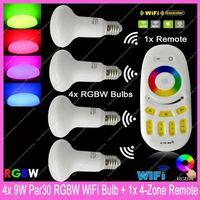4x E27 Mi.Light 9W RGBW or RGBWW Par30 Mushroom Style WiFi Compatible LED Bulb AC85-265V+ 1x 2.4G RF Wireless 4-ZoneTouch Remote