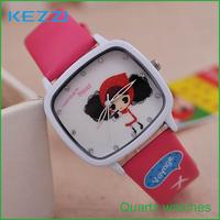 Women Watches Pu 2015 Direct Selling Glass Quartz Watches Cute New Korean Children Cartoon Form Wholesale Free Shipping