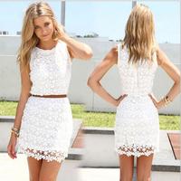 White lace dress 2015 new arrival women summer dress sleeveless cute casual dresses Vestidos roupas femininas