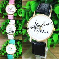 JE TAIME LOVE YOU New Fashion Watch Women Casual Luxury Leather Hour Crystals Quartz Watch Women Dress Watches Relogio Feminino
