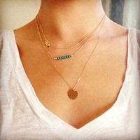 New Fashion Necklaces 3 Layer Turquoise Beads Hand Multilayer Necklaces Long Pendant Necklaces SN460