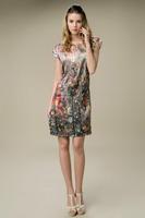 2015 New Vintage Summer Mulberry Silk Dress Big Yards Slik Dress Flower Graffiti O-Neck Short Sleeve Knee-Length Sashes Dresses