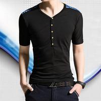 2015 summer short sleeve patchwork t shirt button decoration men's V-neck t-shirt sports t shirts for men casual slim fit
