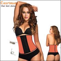 2015 New hot corset steel bones corset latex underbust waist cincher training bustier for woman orange corselet sport shaper