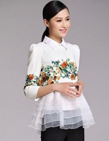 S-XL 2015 spring new women's European and American star two-piece tutu print flower organza dress T1500