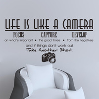 Photography Decals, Life is like Photography We Develop from the Negatives,  Camera, Photo studio, Gifts and deocr 8334