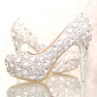 Charming Crystal Closed Toe Stiletto Heel Wedding Shoes 12cm Hidden Platform Pumps Size 35-39 Drop Shipping