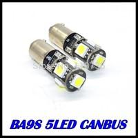 Free shipping 50pcs/lot BA9S 5SMD 5050 White CANBUS led Error Free Interior Car H6W 5 LED Light Lamp Bulb ba9s 12V