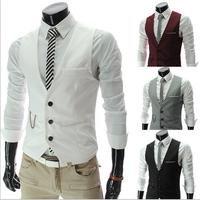 Fashion High quality Men Vest Mens Casual Suit V-necked Slim Fit Vests khaki/black M--3XL GA65