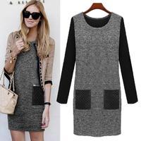 Plus Size Dress Women Casual XXXXXL Spring Autumn Winter Dress With Pockets 2015 Women's Brief Clothing Hot Sale
