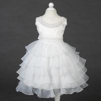 free shipping latest girl dress multilayer pearl collar belt decorative pattern girls princess dress wedding dress