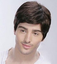Top Grade Quality Short Straight Hairsytle Dark Brown Color Real Hair  Men's Wigs