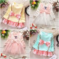 new 2015 spring lace bow girls blouse children shirt for girl long sleeve children clothing 775