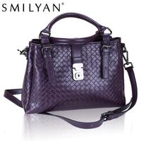 Smilyan women messenger woven pattern bags genuine leather bolsas candy color bag famous brands designer handbags high quality