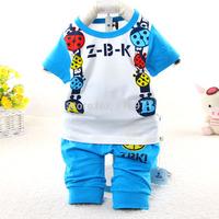 2015 New summer casual character Ladybug baby suit short sleeve children clothing set 3123