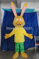 long stand ear yellow bunny mascot costume character cartoon rabbit costumes green pants