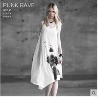 Free shipping  fashion brand PUNK RAVE 2014  New style women dress two way of wearing Gothic printing T-shirt