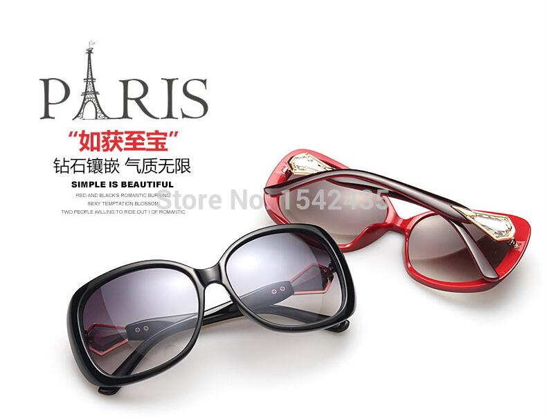 Female star gem diamond 2015 big box ms frog mirror sunglasses chic anti-uv sun glasses(China (Mainland))