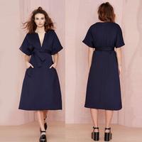 2015 A-Line Deep V Neck Women Dress Batwing Sleeves Blue Loose Desigual Desses Elegant Vestidos Casual Free Shipping With Belt