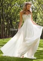 Fashionable Refine A-line Sweetheart Chiffon Beaded Crystal Floor Length Bridal Wedding Gown Dresses 2015