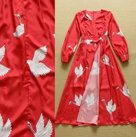 Europe Style 2015 Spring Casual Midi Dress Women Long Sleeve Birds Print Elegant Front Slit Red Long Dress High Slit Maxi Dress