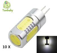 Tanbaby 10pcs G4 COB 12V dc 5W smd cob light bulbs white or warm white  High Power LED Cabinet Light Home Car spotlight