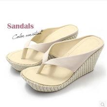2015 Freizeit keil sandalen, neue ankunft der frauen damen sommer böhmen Kleinigkeit Plattform Flip- flops, großhandel b592(China (Mainland))