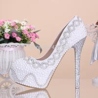Sexy White Pearl Bridal Shoes Ultra High Heels Bride Wedding Dress Shoes Size 35-39 Women Hidden Platform Pumps Drop Shipping