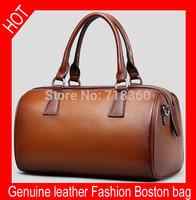 Hot selling fashionable casual shoulder bags cowhide leather oil waxing women's bag genuine leather handbag ladies Boston bag