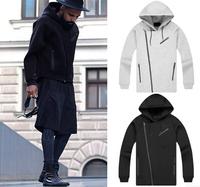 2015 autumn winter Hip hop big WANG Embossing hooded jacket hoodies space cotton  zipper men fashion sportswear S-XL size