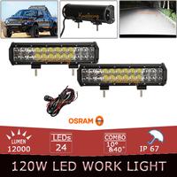 "2x 12"" 120W Offroad OSRAM LED Light Bar Flood Spot Combo Beam Driving Lamp LED offroad Lights SUV ATV UTE 4WD 4X4 AWD Headlight"