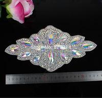 wholesales AB Color Glass Stone Beaded Applique for Wedding Dress Belt Sash Applique Crystal Stone Handmade