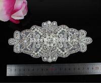 wholesales Clear Color Rhinetsones Beaded Applique for Wedding Dress Belt Sash Handmade