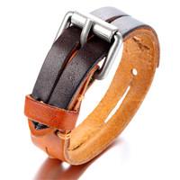 Mens Leather Bracelet, Punk Rock Bangle, Adjustable, Brown orange , KR7824