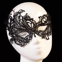 Cutout lace veil mask sexy black prom princess Christmas