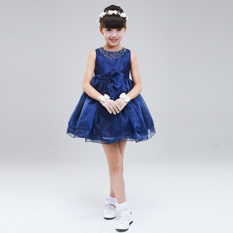 Contas de costura de mão vestido de gola da princesa vestido da menina flor do casamento marinha Connaught loja de roupas produtos(China (Mainland))