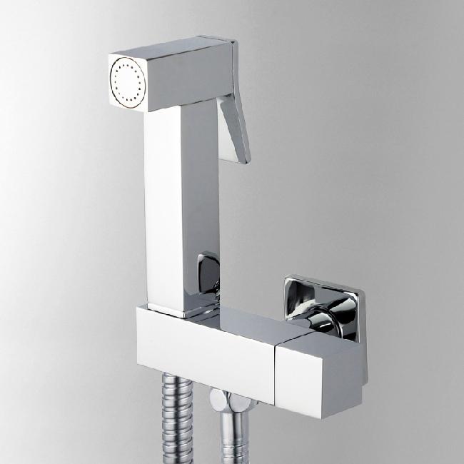 Brass Chrome Square Toilet Protable Hand Held Bidet Shower Spray Gun/Women Bidet Faucet Shattaf Shower Set torneira ducha lanos(China (Mainland))