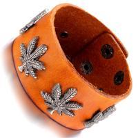 Mens Leather Bracelet, Punk Rock Bangle, Adjustable, Brown  , KR7829