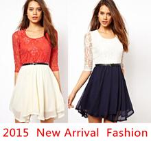 2015 New Designer Brand Women Dresses Black Red Elegant Lace Dress For Women Plus Size Fashion