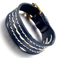 Mens Leather Bracelet, Punk Rock Bangle, Adjustable, Blue, KR7820