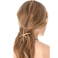 World brand women starfish shape gold plated hairpin top fashione girls brand hair accessories
