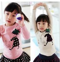 Free Shipping NEW 1PC/Lot Spring & Autumn Children Kids Girl Soft Cute Fashion Long T- Shirt  Kid Cloth Cotton Fashion Tops Gift