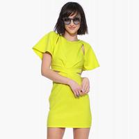 2015 Fashion Women Dress Bodycon Slim Hollow Out Waist Pleated Short Sleeve Sexy Dresses Women Summer Dress Mini Women Dresses